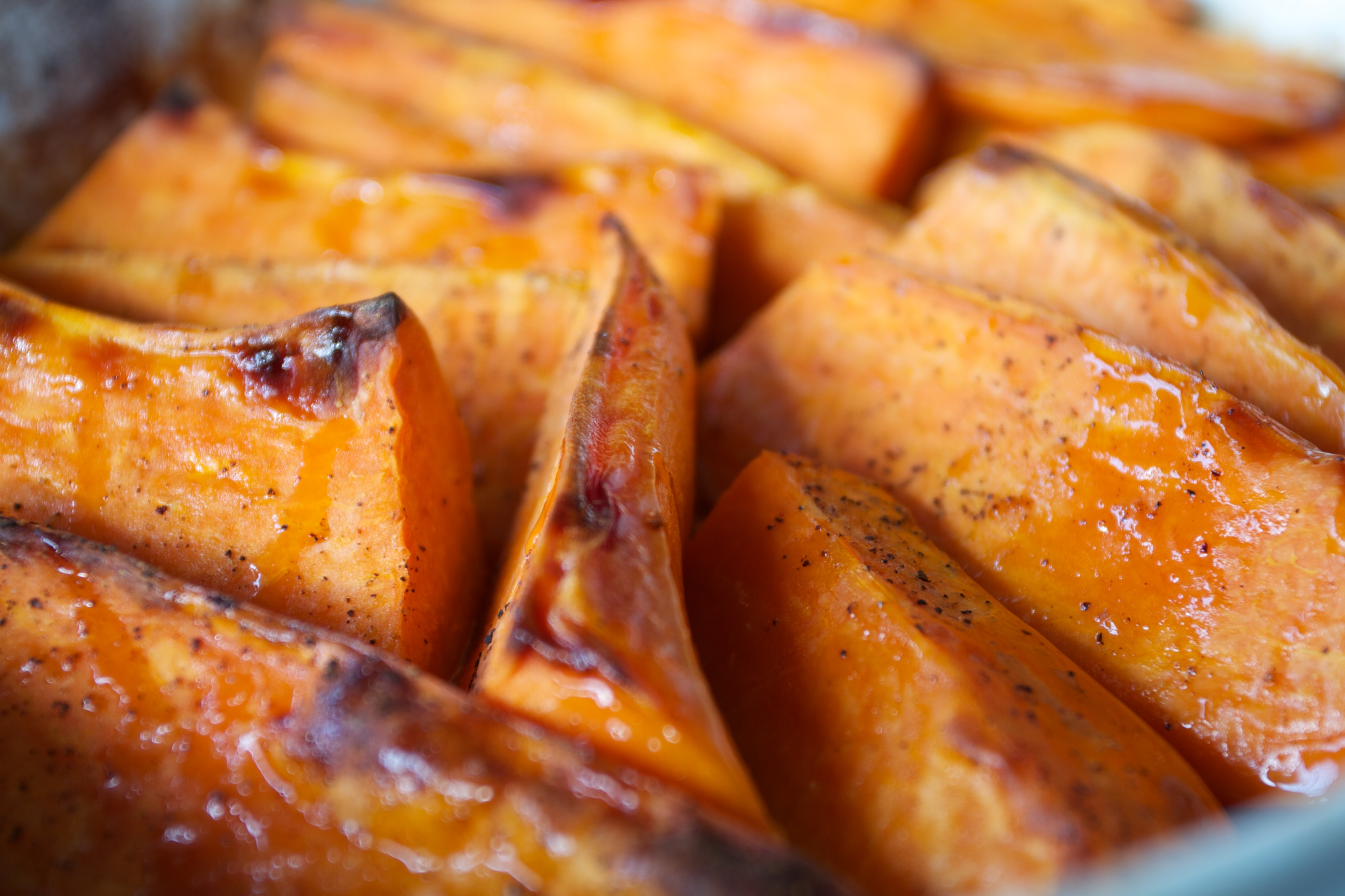 Maple Roasted Pumpkins and Sweet Potatoes (minus walnuts and raisins)